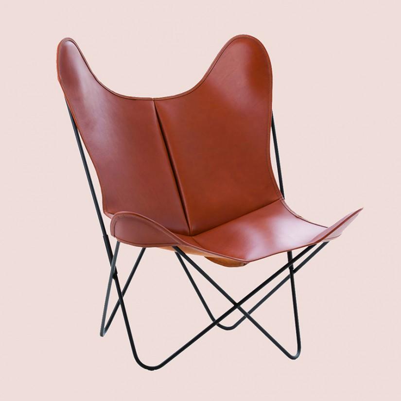 fauteuil papillon cuir aa original 3 structures assise. Black Bedroom Furniture Sets. Home Design Ideas