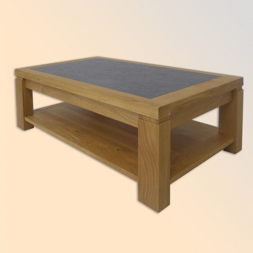 Table basse chene massif 100 1 table bois massif et dessus c ramique - Table salon dessus ceramique ...